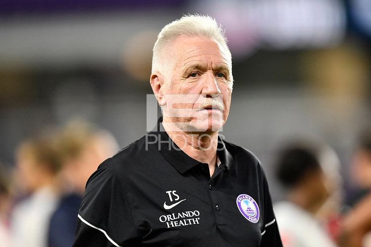 Orlando, FL - Saturday July 07, 2018: Tom Sermanni during the second half of a regular season National Women's Soccer League (NWSL) match between the Orlando Pride and the Washington Spirit at Orlando City Stadium. Orlando defeated Washington 2-1.