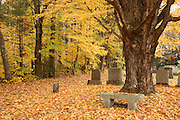 Cemetery in Kensington, New Hampshire USA during the autumn months.