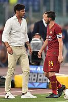Paulo Fonseca coach of AS Roma , Alessandro Florenzi of AS Roma <br /> Roma 01-09-2019 Stadio Olimpico <br /> Football Serie A 2019/2020 <br /> SS Lazio - AS Roma <br /> Photo Andrea Staccioli / Insidefoto