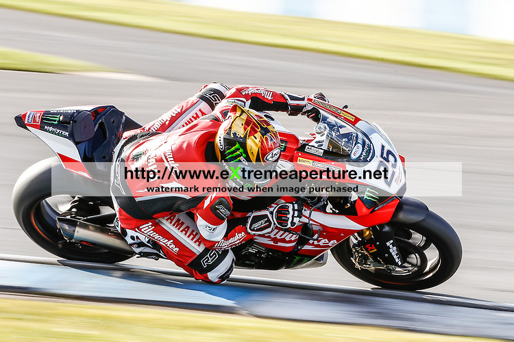 CASTLE DONINGTON, ENGLAND - MARCH 26 2015: Josh Brookes of Australia and Milwaukee Yamaha Team during the MCE Insurance British Superbike Championship Test Day at Donington Park on March 25, 2015 in Castle Donington, United Kingdom. (Photo by David Horn/EAP)