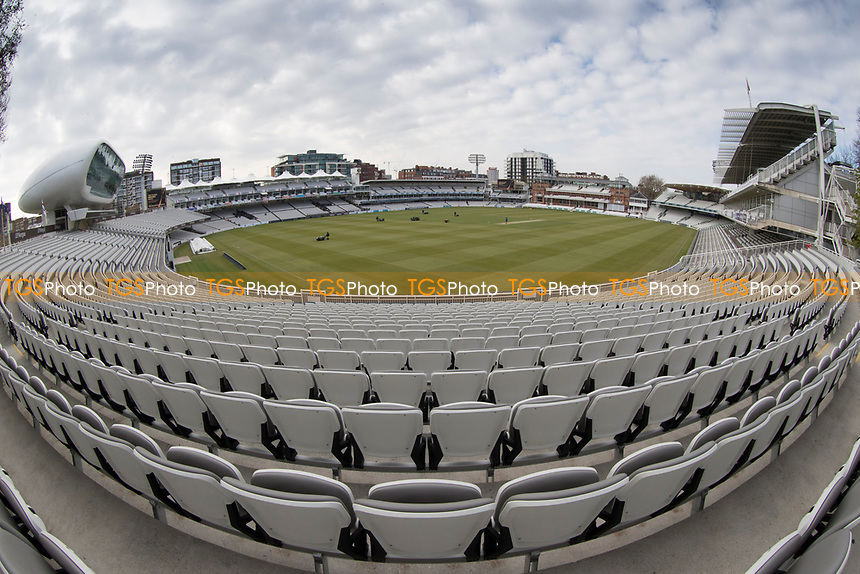 A view of Lords from the Compton Stand during Middlesex CCC vs Lancashire CCC, Specsavers County Championship Division 2 Cricket at Lord's Cricket Ground on 12th April 2019
