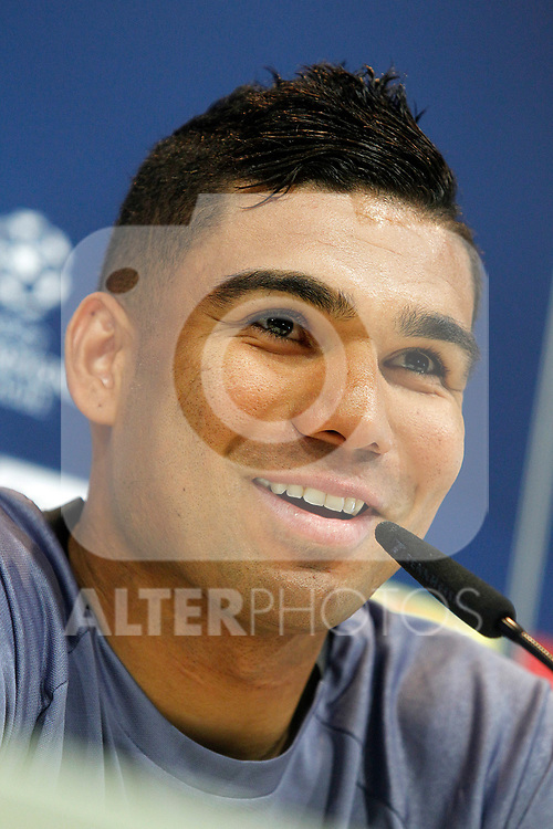 Real Madrid's Carlos Henrique Casemiro in press conference after training session. April 17,2017.(ALTERPHOTOS/Acero)
