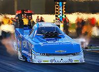 Feb 6, 2015; Pomona, CA, USA; NHRA funny car driver John Force during qualifying for the Winternationals at Auto Club Raceway at Pomona. Mandatory Credit: Mark J. Rebilas-USA TODAY Sports