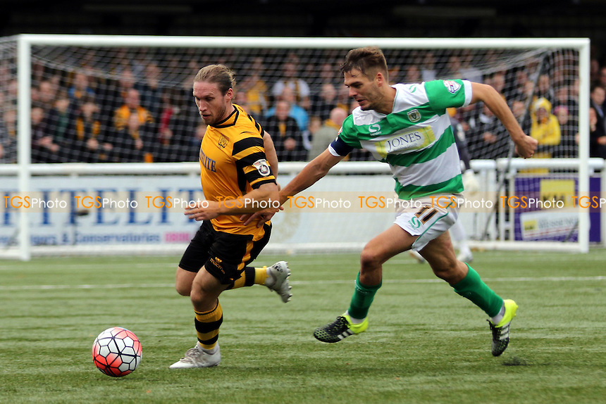 Matt Bodkin of Maidstone and Yeovil's Ryan Dickson during Maidstone United  vs Yeovil Town, Emirates FA Cup Football at the Gallagher Stadium, Maidstone, England on 08/11/2015