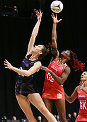 13th September 2017, Hamilton, New Zealand;  New Zealand shooter Bailey Mes and England goal defense Ama Agbeze compete for the ball during the Taini Jamison Trophy international netball match - Silver Ferns versus  England played at Claudelands Arena, Hamilton, New Zealand on Wednesday 13 September 2017