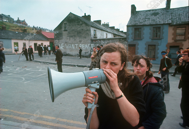 Bernadette Devlin, Republican activist during the Battle of the Bogside riots between Catholics and the Ulster police, Londonderry, Northern Ireland, August 1969
