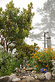 USA, California, Big Sur, Esalen, a Buddha adorned with offerings rests beneath a tree in the Buddha Garden