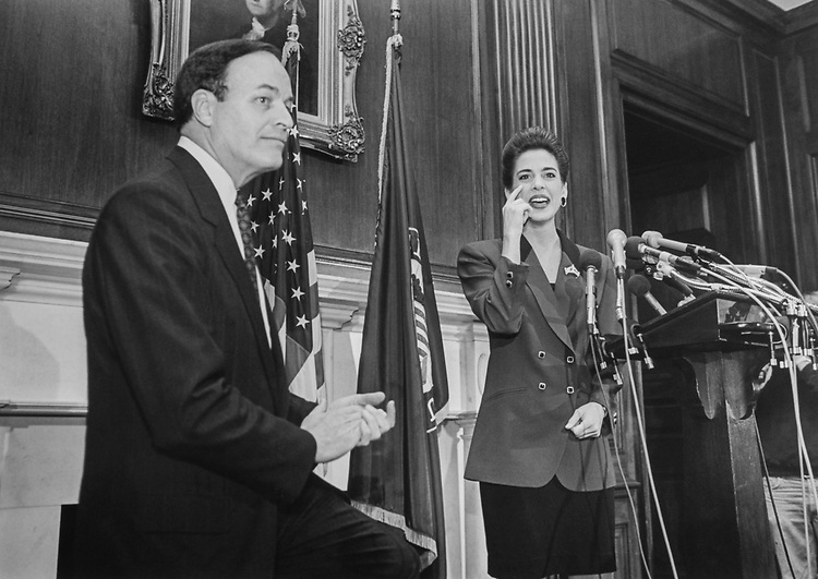 Sen. Richard Shelby, D-Ala., and Miss America 1995 Heather Whitestone from Alabama signing to a reporter's question in Mansfield room on Oct. 6, 1994. (Photo by Laura Patterson/CQ Roll Call via Getty Images)