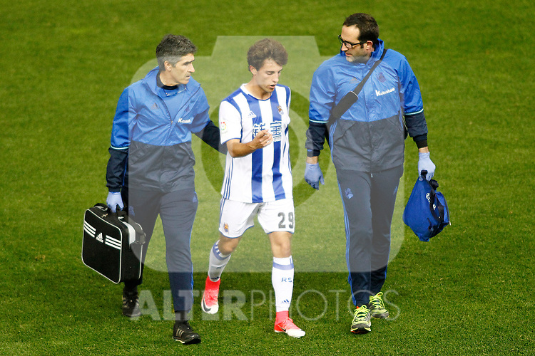 Real Sociedad's Alvaro Odriozola injured during La Liga match. April 4,2017. (ALTERPHOTOS/Acero)
