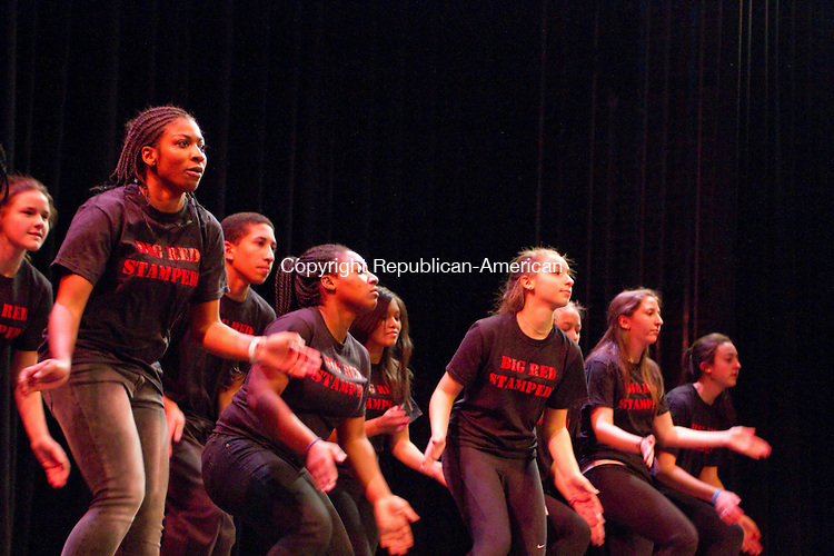 WATERTOWN, CT20 January 2014-012014LW02 - Taft School dance group STEP performs a stomp dance during Taft School's Martin Luther King Day celebration Monday in Watertown.<br /> Laraine Weschler Republican-American