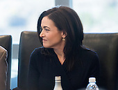 Facebook Chief Operating Officer Sheryl Sandberg is seen at a meeting of technology leaders in the Trump Organization conference room at Trump Tower in New York, NY, USA on December 14, 2016. <br /> Credit: Albin Lohr-Jones / Pool via CNP
