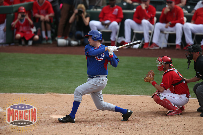 TEMPE, AZ - MARCH 12:  Actor Will Ferrell of the Chicago Cubs bats against the Los Angeles Angels during a spring training game at Tempe Diablo Stadium on March 12, 2015 in Tempe, Arizona. (Photo by Brad Mangin)