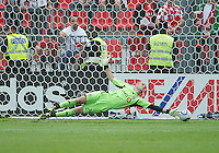 Toronto FC goalkeeper Stefan Frei #24 dives for a ball  during an MLS game between the Philadelphia Union and the Toronto FC at BMO Field in Toronto on May 28, 2011..The Philadelphia Union won 6-2..