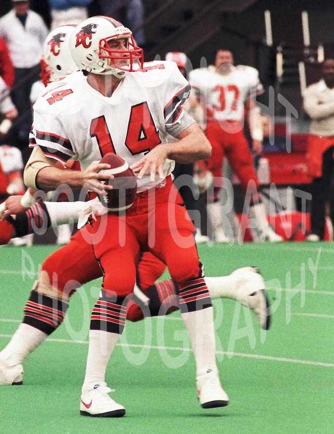 Tim Cowan BC Lions quarterback  1985. Photo F. Scott Grant