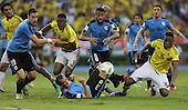 Yerry Mina (16)  y Oscar Murillo (3) de Colombia en partido de eliminatorias para el Mundial de F&uacute;tbol 2018 contra Uruguay en el Estadio Metropolitano Roberto Melendez de Barranquilla el 11 de octubre de 2016.<br /> <br /> Foto: Archivolatino<br /> <br /> COPYRIGHT: Archivolatino<br /> Prohibido su uso sin autorizaci&oacute;n.