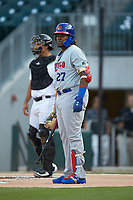 Vladimir Guerrero Jr. (47) of the Buffalo Bison looks to his third base coach for the signs during the game against the Charlotte Knights at BB&T BallPark on August 14, 2018 in Charlotte, North Carolina. The Bison defeated the Knights 14-5.  (Brian Westerholt/Four Seam Images)