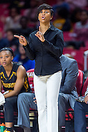 College Park, MD - DEC 6, 2016: Towson Tigers head coach Niki Reid Geckeler calls a play from the sideline during game between Towson and Maryland at XFINITY Center in College Park, MD. The Terps defeated the Tigers 97-63. (Photo by Phil Peters/Media Images International)
