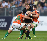 Sam Underhill of Bath Rugby takes on the Benetton Rugby defence. European Rugby Champions Cup match, between Bath Rugby and Benetton Rugby on October 14, 2017 at the Recreation Ground in Bath, England. Photo by: Patrick Khachfe / Onside Images