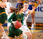 BROOKINGS, SD - JANUARY 6: Myah Selland #44 from South Dakota State University applies pressure to Macey Kvilvang #14 from North Dakota State University  during their game Saturday afternoon at Frost Arena in Brookings, SD. (Photo by Dave Eggen/Inertia)