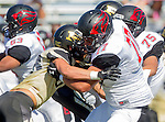 Palos Verdes, CA 09/25/15 - Steven Almada (Lawndale #77) and Paxton Shive (Peninsula #83) in action during the Lawndale - Palos Verdes Peninsula Varsity football game at Peninsula High School.