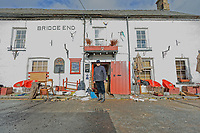 Pictured: Howard Baker, the owner of the Bridge End Inn.<br /> Re: Cleanup after storm Dennis in Crickhowell, Wales, UK.