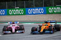 12th July 2020; Styria, Austria; FIA Formula One World Championship 2020, Grand Prix of Styria race day; FIA Formula One World Championship 2020, Grand Prix of Styria,  18 Lance Stroll CAN, BWT Racing Point F1 Team, 4 Lando Norris GBR, McLaren F1 Team