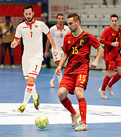 20200201 Herentals , BELGIUM :  Belgium's Rafael Bruno Teixeira (15) with the ball  during a futsal indoor soccer game between the Belgian Futsal Devils of Belgium and Montenegro on the third and last matchday in group B of the UEFA Futsal Euro 2022 Qualifying or preliminary round , Saturday 1st February 2020 at the Sport Vlaanderen sports hall in Herentals , Belgium . PHOTO SPORTPIX.BE | Sevil Oktem