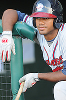 Infielder Edward Salcedo (1) of the Rome Braves, Class A affiliate of the Atlanta Braves, in a game against the Greenville Drive on July 17, 2011, at Fluor Field at the West End in Greenville, South Carolina. (Tom Priddy/Four Seam Images)