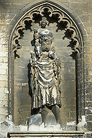 Gothic Bas releif of St Christopher with Christ on his shoulders.  Gothic Cathedral of Notre-Dame, Amiens, France
