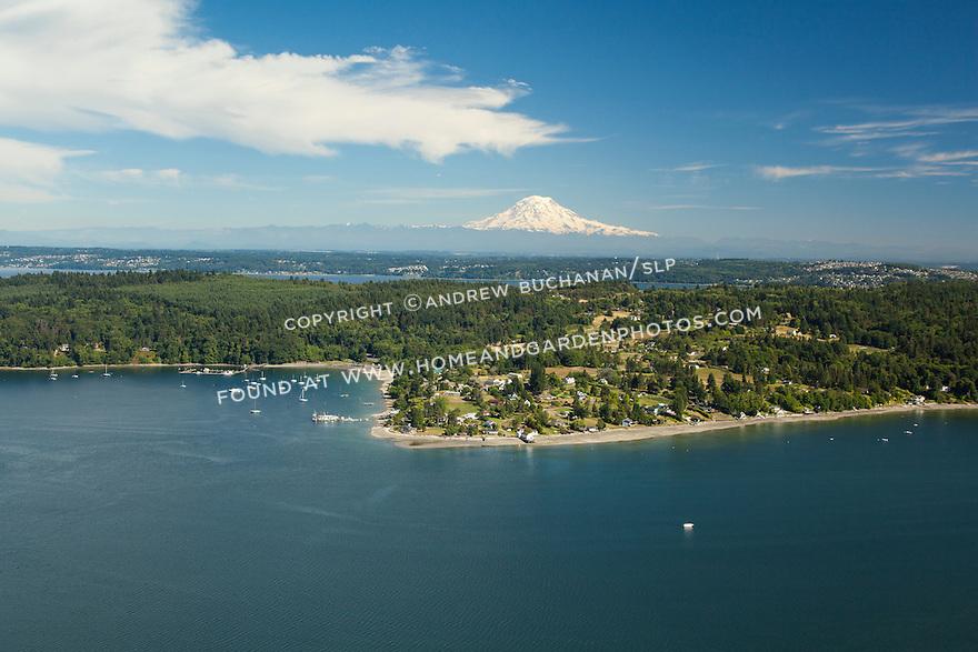 aerial view of Vashon Island and Mt. Rainier behind, WA