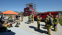 NWA Democrat-Gazette/ANDY SHUPE<br /> Fire captains, firefighters and training officers gather Wednesday, March 7, 2018, during a training workshop for fire department leadership to meet current National Fire Protection Association standards at the Fayetteville Fire Department training facility in south Fayetteville. Thirty students and instructors from agencies in seven states attended the training meant to train department training officers at current standards.