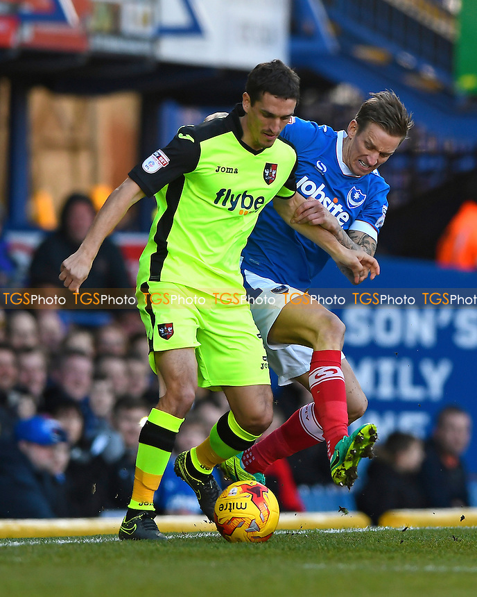 Craig Woodman of Exeter City holds off the challenge from Carl Baker of Portsmouth during Portsmouth vs Exeter City, Sky Bet EFL League 2 Football at Fratton Park on 28th January 2017