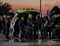 Jun 1, 2018; Joliet, IL, USA; Crew members for NHRA funny car driver Jonnie Lindberg during qualifying for the Route 66 Nationals at Route 66 Raceway. Mandatory Credit: Mark J. Rebilas-USA TODAY Sports