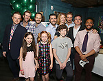 """Front row: Brie Zimmer, Charlotte Wise, Finn Faulconer Second row: David Kenner, Jeff Wise, Matt Harrington, Jason O'Connell, Kate MacCluggage, Michael Schantz, Craig Wesley Devino and Kareem Lucas attend the Birthday Party Photo Call for the Wheelhouse Theater Company production of Kurt Vonnegut's """"Happy Birthday, Wanda June""""  on October 3, 2018 at Bond 45 Times Square in New York City."""
