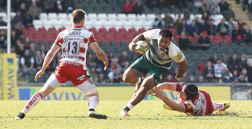 Leicester Tigers' Manu Tuilagi and Gloucester Rugby's Ben Morgan and Gloucester Rugby's Henry Trinder in action during todays match<br /> <br /> Photographer Rachel Holborn/CameraSport<br /> <br /> Rugby Union - Aviva Premiership - Leicester Tigers v Gloucester Rugby - Saturday 2nd April 2016 - Welford Road - Leicester <br /> <br /> &copy; CameraSport - 43 Linden Ave. Countesthorpe. Leicester. England. LE8 5PG - Tel: +44 (0) 116 277 4147 - admin@camerasport.com - www.camerasport.com