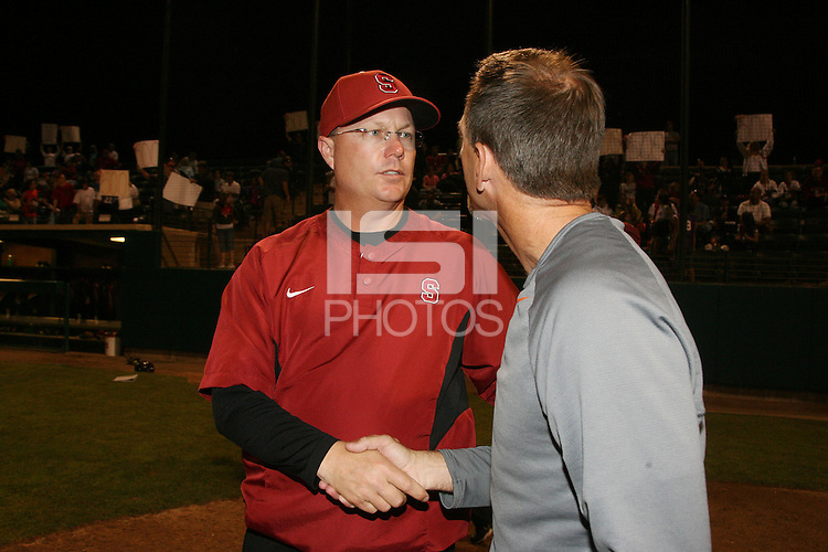 11 April 2008: Stanford Cardinal head coach John Rittman during Stanford's 10-1 win against the Oregon State Beavers at the Boyd and Jill Smith Family Stadium in Stanford, CA. Rittman recorded his 500th career victory.