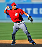 22 July 2011: Washington Nationals shortstop Ian Desmond warms up prior to facing the Los Angeles Dodgers at Dodger Stadium in Los Angeles, California. The Nationals defeated the Dodgers 7-2 in their first meeting of the 2011 season. Mandatory Credit: Ed Wolfstein Photo