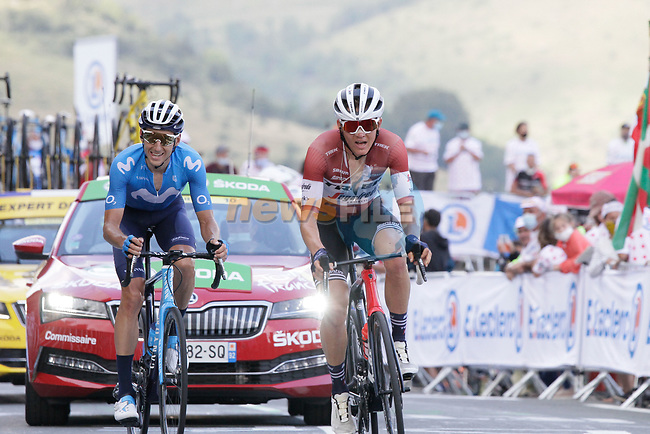 Carlos Verona (ESP) Movistar Team and Latvian Champion Toms Skujins (LAT) Trek-Segafredo from the breakaway summit the Col de Peyresourde during Stage 8 of Tour de France 2020, running 141km from Cazeres-sur-Garonne to Loudenvielle, France. 5th September 2020. <br /> Picture: Colin Flockton | Cyclefile<br /> All photos usage must carry mandatory copyright credit (© Cyclefile | Colin Flockton)