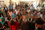 Palestinians celebrate in the Jordanian hospital to support of Prince Ali bin Hussein in the election of the president of FIFA, in Gaza city on September 13, 2015. Prince Ali Bin al-Hussein of Jordan, beaten by Sepp Blatter to the Fifa presidency as the organisation went into meltdown in May, has confirmed he will stand again for the most powerful role in world football. Photo by Ashraf Amra