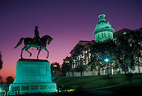 State House, State Capitol, Columbia, South Carolina, SC, Equestrian statue outside The State House in the evening in the capital city of Columbia.
