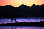 Couple practice Tai Chi against Mountain sunset in Stanley Park Vancouver BC