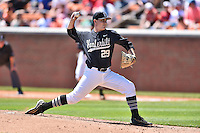 Vanderbilt Commodores starting pitcher Patrick Raby (29) delivers a pitch during a game against the Tennessee Volunteers at Lindsey Nelson Stadium on April 24, 2016 in Knoxville, Tennessee. The Volunteers defeated the Commodores 5-3. (Tony Farlow/Four Seam Images)