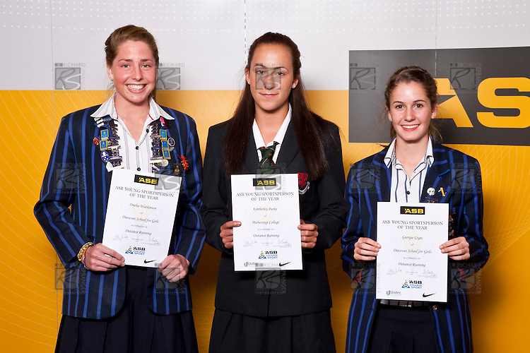 Girls Distance Running finalists Amelia Watkinson, Kimberley Burke & Georgie Grgec. ASB College Sport Auckland Secondary School Young Sports Person of the Year Awards held at Eden Park on Thursday 12th of September 2009.