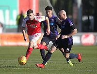 Fleetwood Town's Ched Evans battles with Luton Town's Alan McCormack<br /> <br /> Photographer Mick Walker/CameraSport<br /> <br /> The EFL Sky Bet League One - Fleetwood Town v Luton Town - Saturday 16th February 2019 - Highbury Stadium - Fleetwood<br /> <br /> World Copyright © 2019 CameraSport. All rights reserved. 43 Linden Ave. Countesthorpe. Leicester. England. LE8 5PG - Tel: +44 (0) 116 277 4147 - admin@camerasport.com - www.camerasport.com