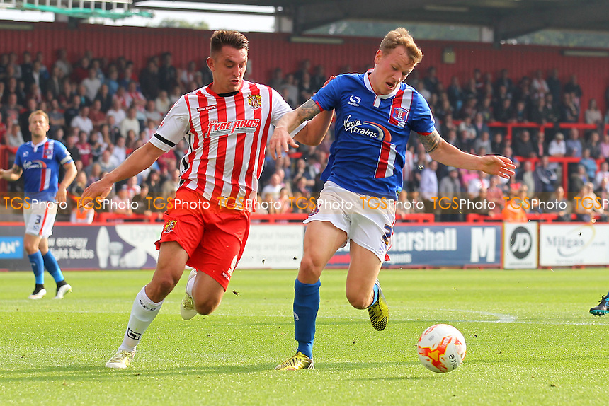 Brett Williams of Stevenage and Tom Miller of Carlisle United during Stevenage vs Carlisle United, Sky Bet League 2 Football at the Lamex Stadium, Stevenage, England on 03/10/2015