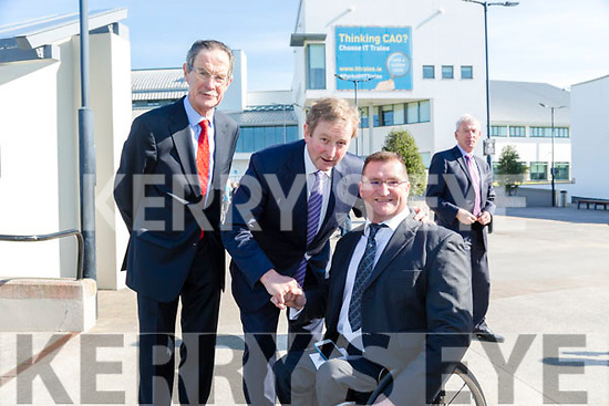 Taoiseach Enda Kenny TD attend the launch of the €16.5m sports academy at ITT North Campus on Monday.  An Taoiseach Enda Kenny with Roy Guerin and Dick Spring
