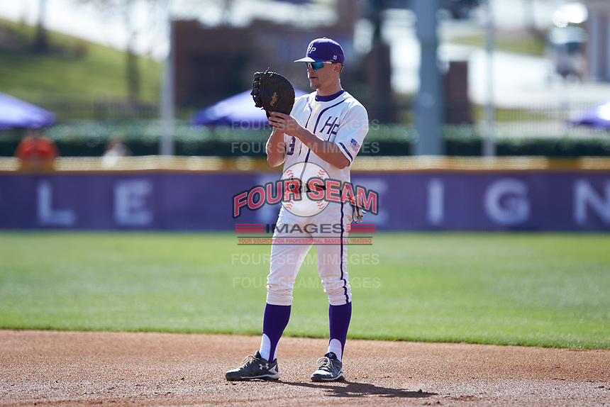 High Point Panthers first baseman Jordan Sergent (9) on defense against the NJIT Highlanders at Williard Stadium on February 19, 2017 in High Point, North Carolina. The Panthers defeated the Highlanders 6-5. (Brian Westerholt/Four Seam Images)