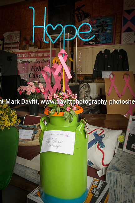 One of the more than 100 items for live auction was a re-purposed milk can made into a flower box for hope. Pink Tractor Foundation held its fifth annual fundraiser in support of fighting cancer in St. Marys at the Brommel family farm Saturday, June 11.