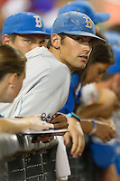 UCLA Bruin pitcher Adam Plutko (9) during Game 4 of the 2013 Men's College World Series against the LSU Tigers on June 16, 2013 at TD Ameritrade Park in Omaha, Nebraska. UCLA defeated LSU 2-1. (Andrew Woolley/Four Seam Images)
