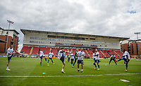 Wycombe players warm up ahead of the Sky Bet League 2 match between Leyton Orient and Wycombe Wanderers at the Matchroom Stadium, London, England on 1 April 2017. Photo by Andy Rowland.